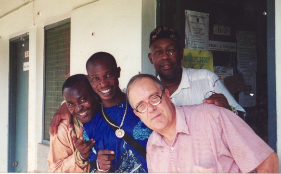 John Collins with Dela Botri, Juma Santos and Atongo Zimba at U-Legon, 2001