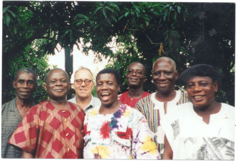 JOHN COLLINS  with members of Ghana's National Folklore Board, 1997 via BAPMAF