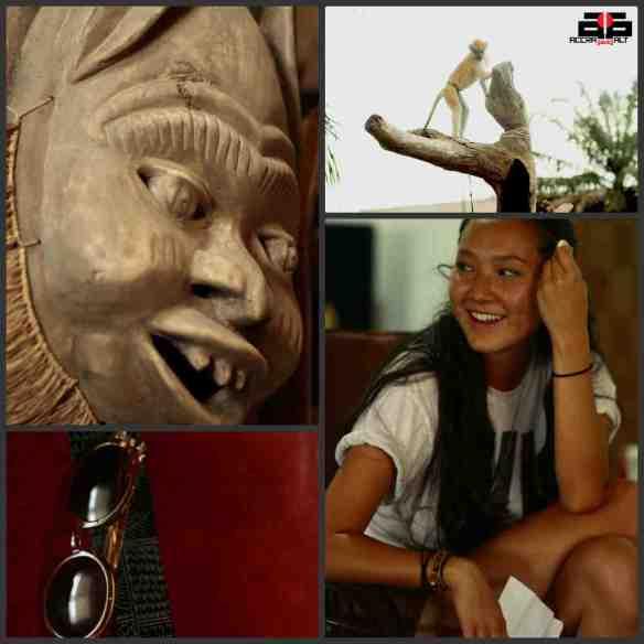Artifacts in Wanlov's crib; Wanlov's pet monkey; writer Aigerim Saparova