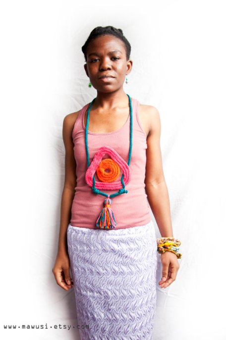 JANE ODARTEY in the Yarn Tribal Series Necklace