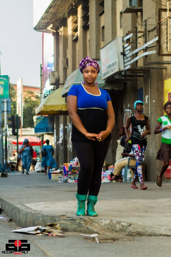 Meche Korrect strikes a pose in Accra central