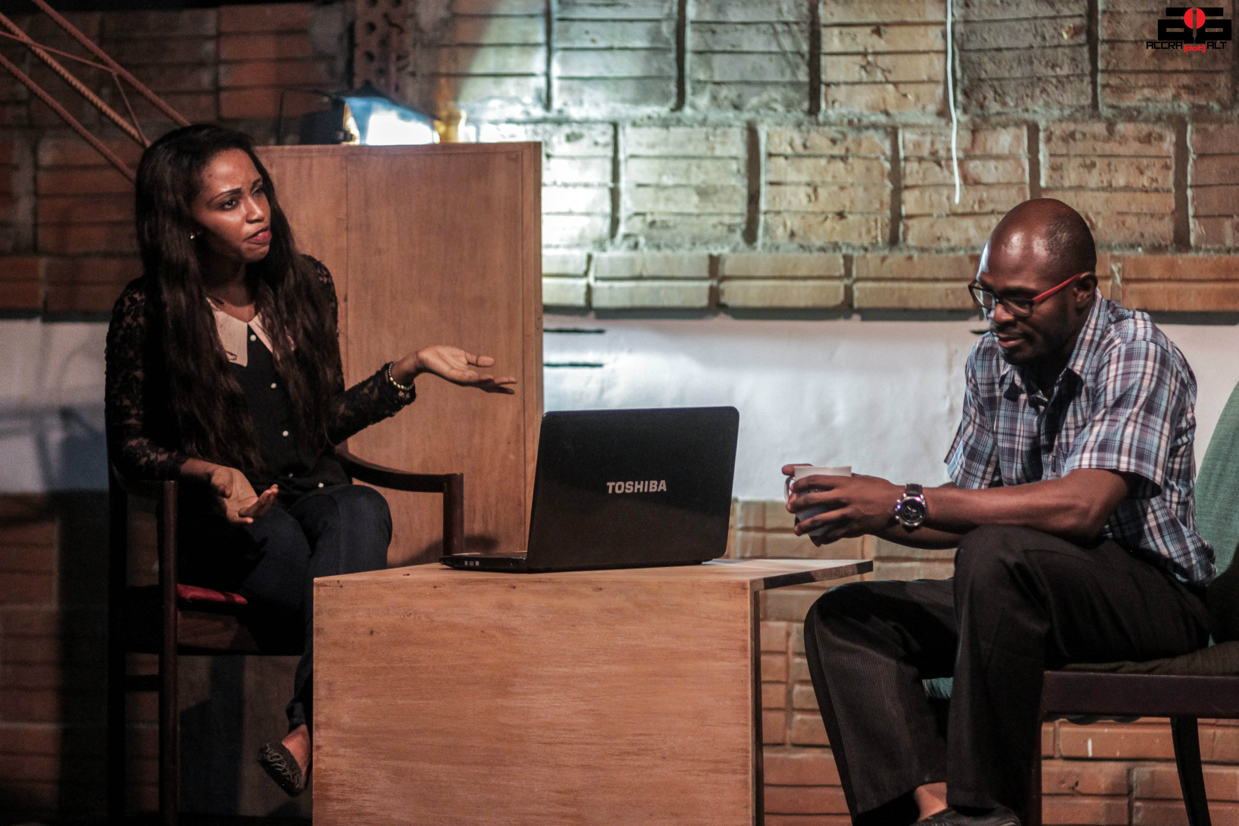 Francis (Behjamin Appiah  tries to advise Jane (Bridget Cudjoe)