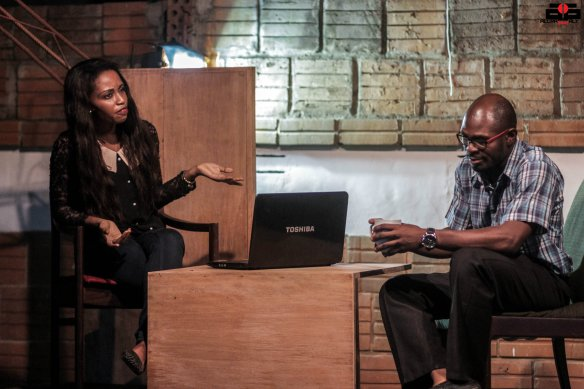 Francis (Behjamin Appiah  tries to advise Jane (Bridget Cudjoe)