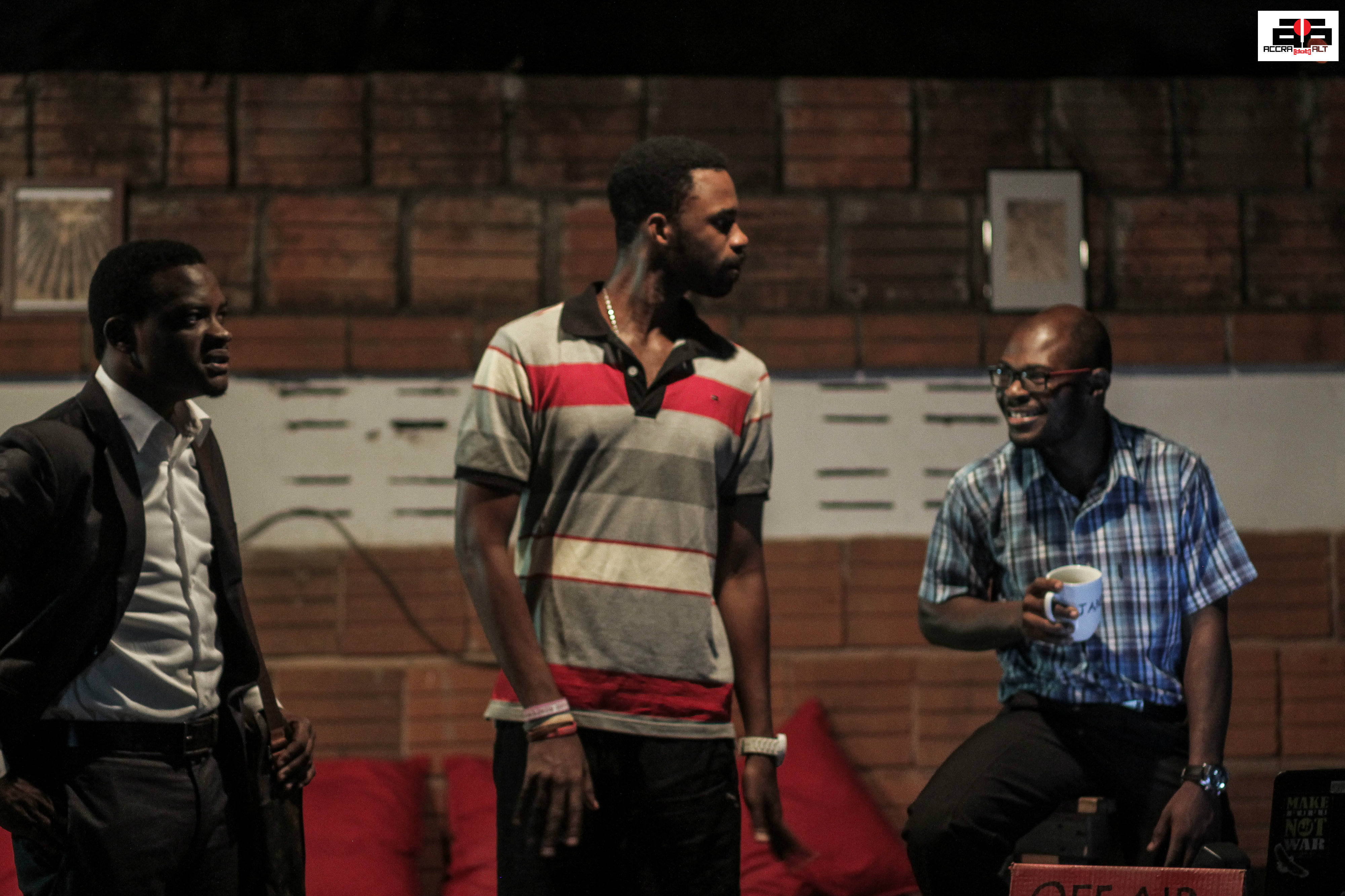 Bernard (Jamal Shaibu), Seth (James Brown) and Francis (Benjamin Appiah)