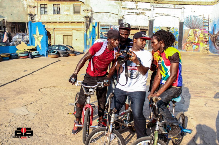 Bikers take time to see how they look on Camera.