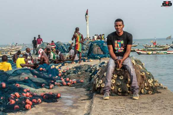 Chilling on the pier at the old habour in James Town- Accra
