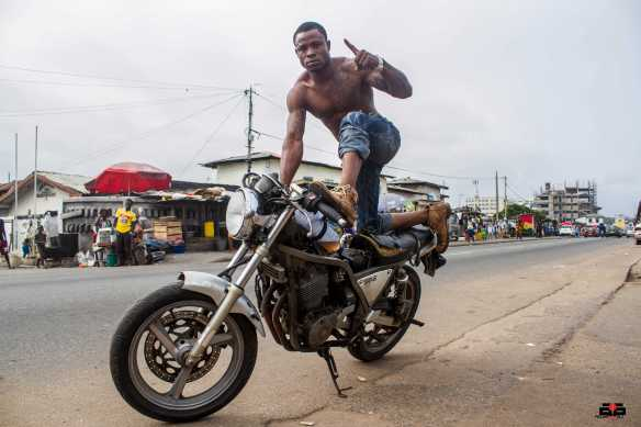 They call him Prince - ruler of the Accra sports bike stunt circuit.