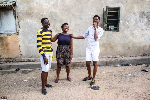Nyahan Tachie-Menson [middle]   Elom Tettey Tamaklo [left] , Nyahan Tachie-Menson Elom Tettey Tamaklo [right] students from TIS excited about their mural station